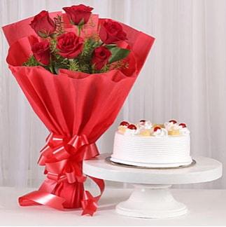 6 Kırmızı gül ve 4 kişilik yaş pasta  Ankara çiçek , çiçekçi , çiçekçilik