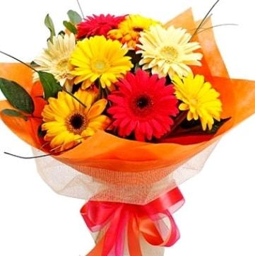 9 adet karışık gerbera buketi  Ankara çiçek , çiçekçi , çiçekçilik