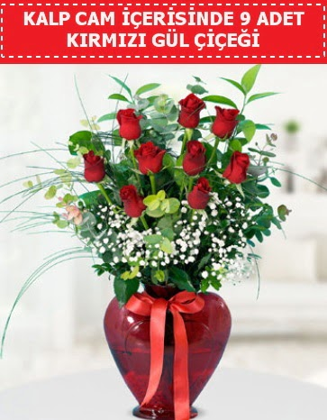 Kırmızı kalp camda 9 kırmızı gül  Ankara çiçek satışı