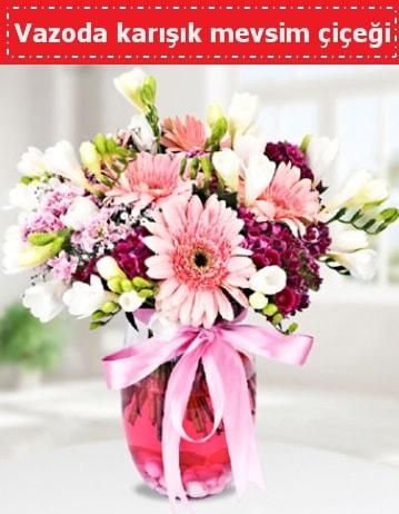 Vazoda karışık mevsim çiçeği  Ankara çiçek , çiçekçi , çiçekçilik