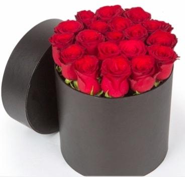 21 adet siyah kutuda kırmızı gül  Ankara İnternetten çiçek siparişi