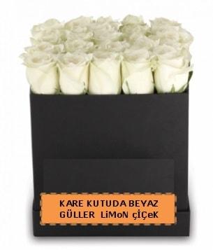 Kare kutuda 17 adet beyaz gül tanzimi  Ankara çiçek siparişi sitesi