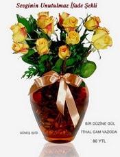 Ankara internetten çiçek satışı  mika yada Cam vazoda 12 adet sari gül